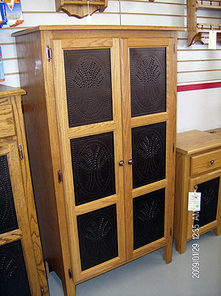 Baker S Cabinet With Tin Imprint Design Amish Custom