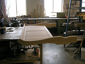 bedframe in workshop