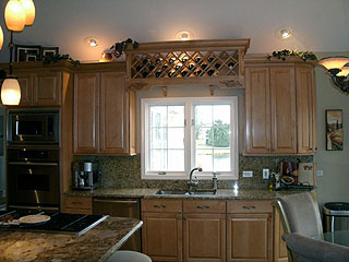 A kitchen we remodeled with oak cabinets